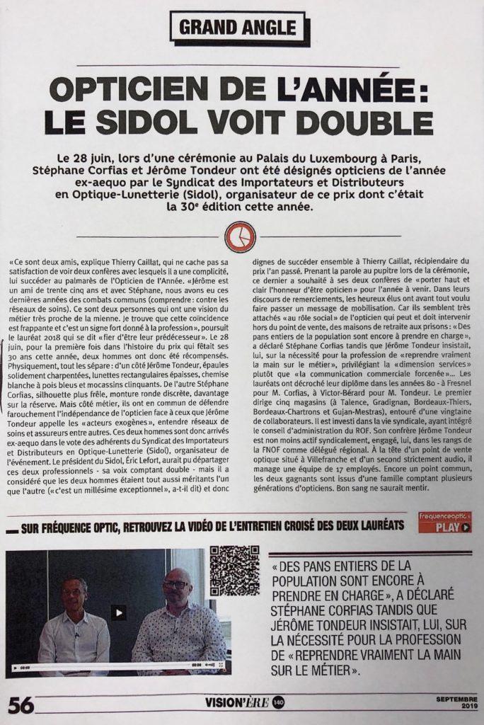 Grand - Vision'ère - Opticien de l'année : le SIDOL voit double